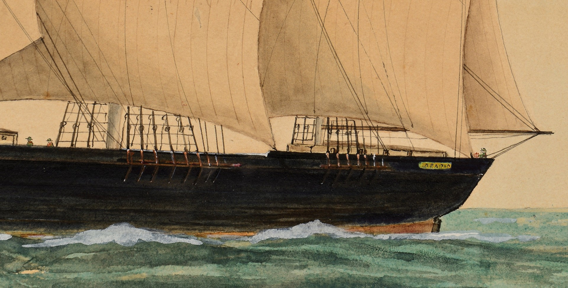 Lot 233: Ship Watercolor, Arbia, dated 1860