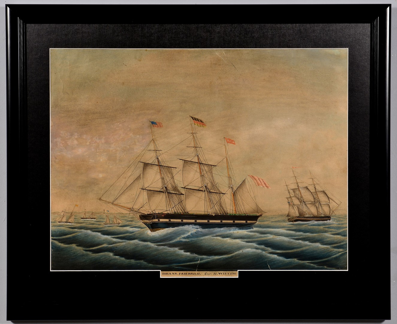 Lot 234: Ship watercolor, Lohann. Friedrich.