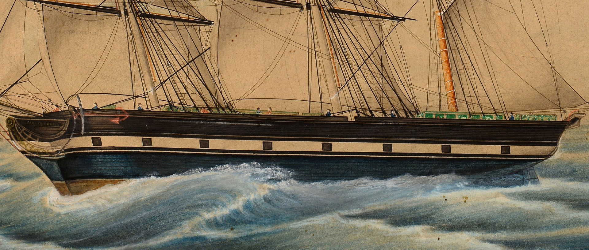 Lot 234: Ship watercolor, Lohann. Friedrich.
