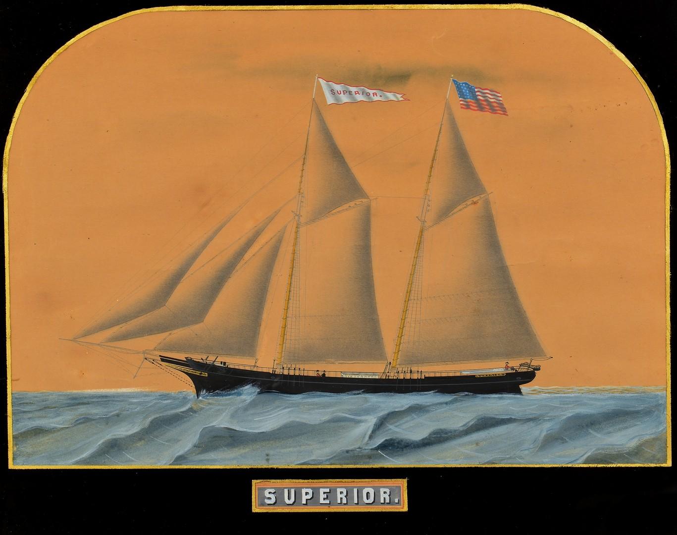 Lot 235: American School Ship Watercolor, Superior