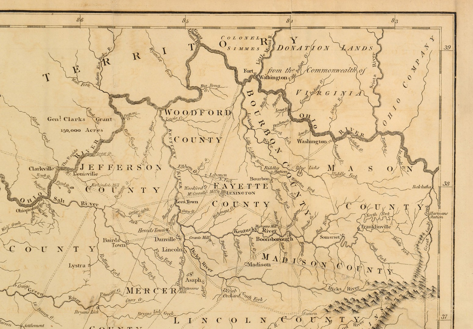 Lot 238: 1794 Map of the State of Kentucky