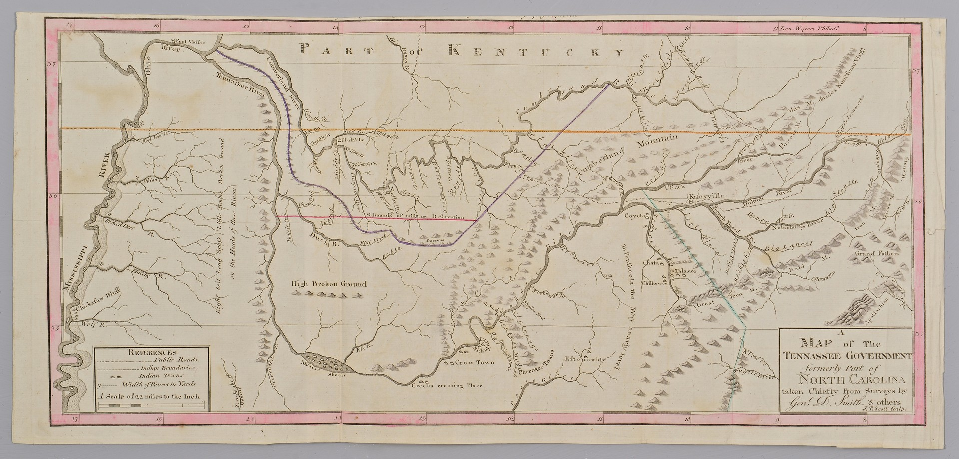 Lot 239: Tennessee Map Circa 1795