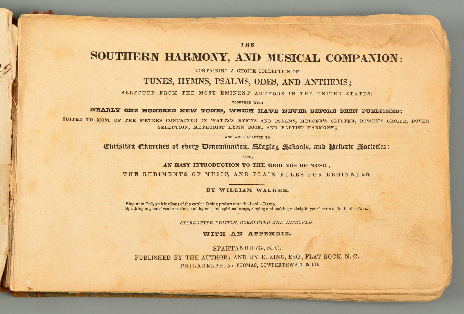Lot 247: Southern Harmony & Musical Companion, Spartanburg