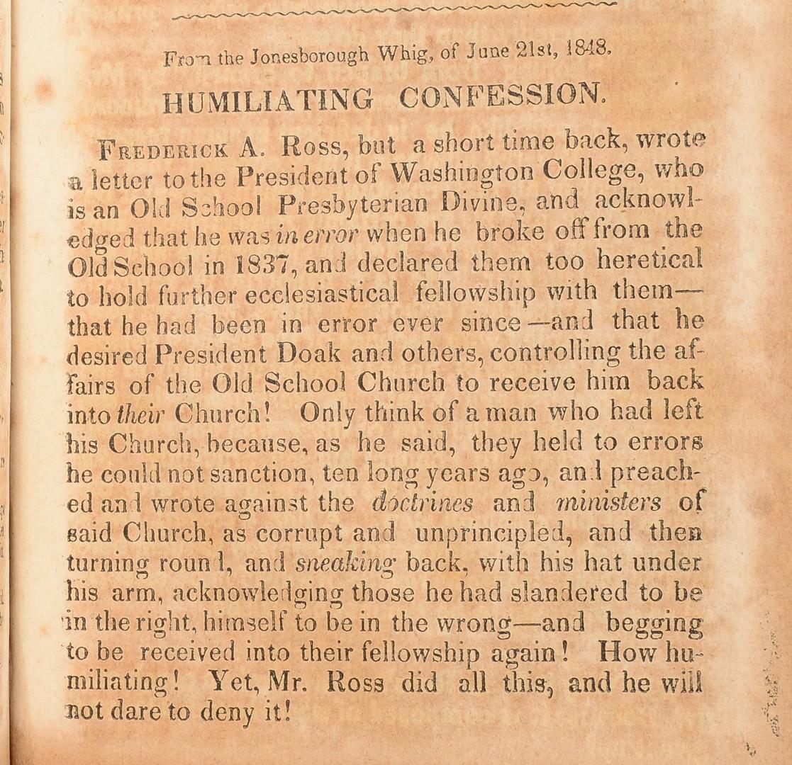Lot 249: Jonesborough Monthly Review, 1847