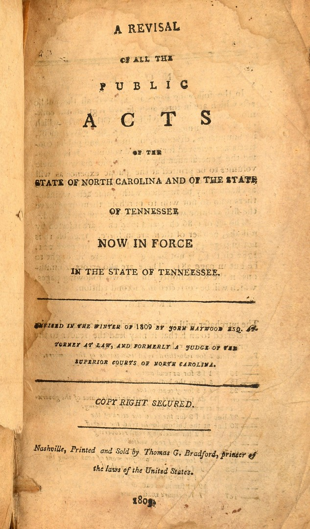 Lot 250: Haywood Tennessee Book 1809