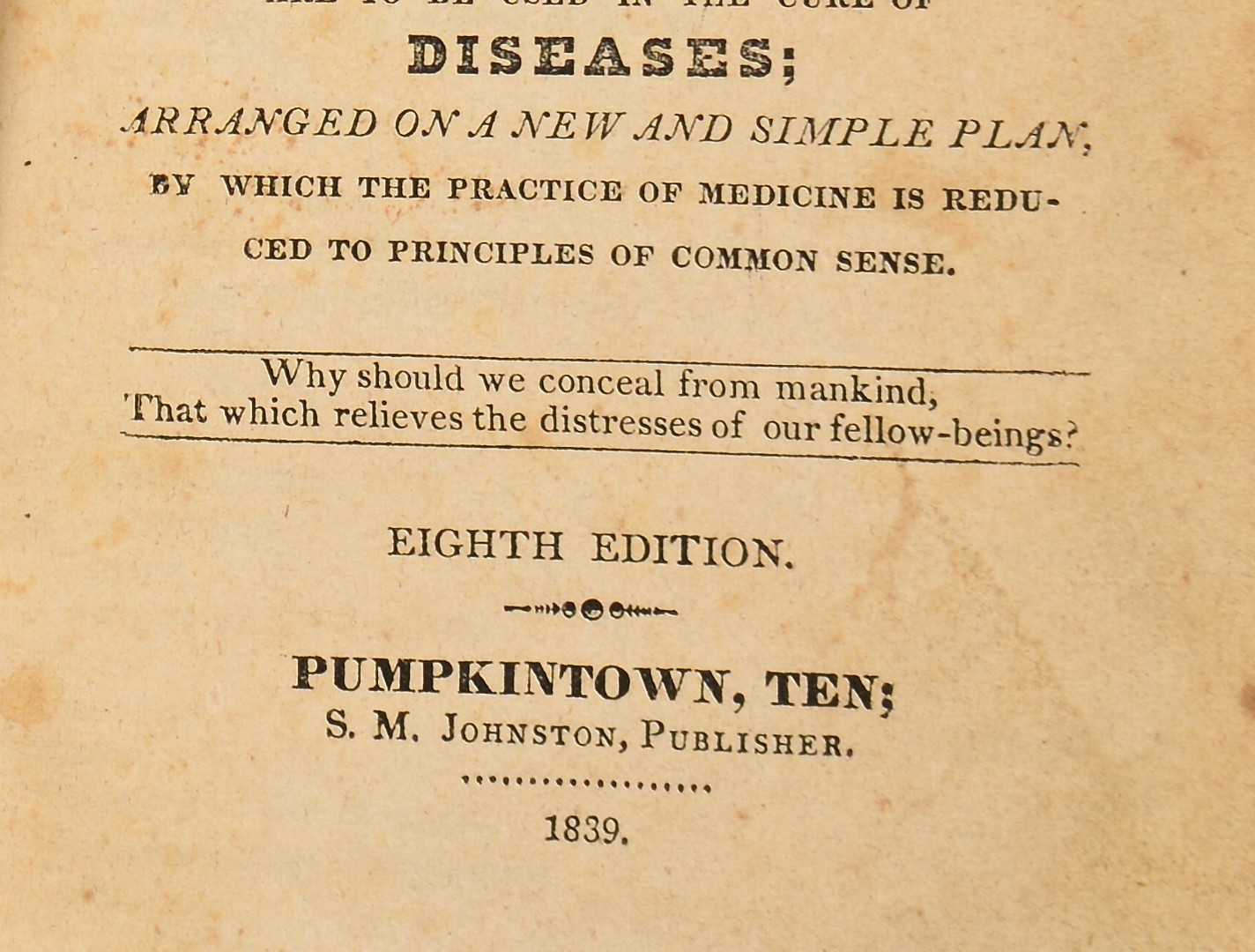 Lot 251: Gunns Domestic Medicine, Pumpkintown 1839