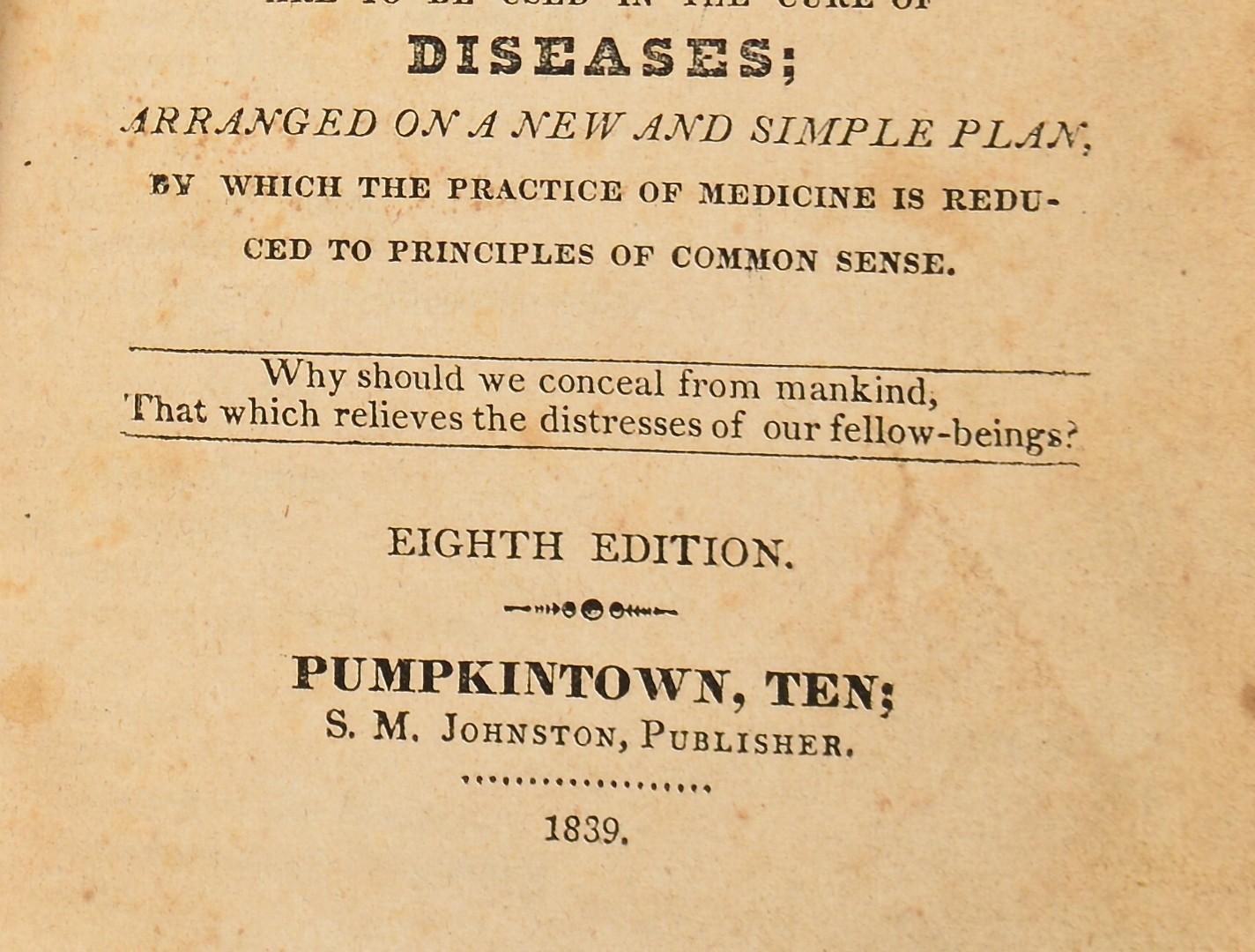 Lot 251: Gunns Domestic Medicine, Pumpkintown 1839