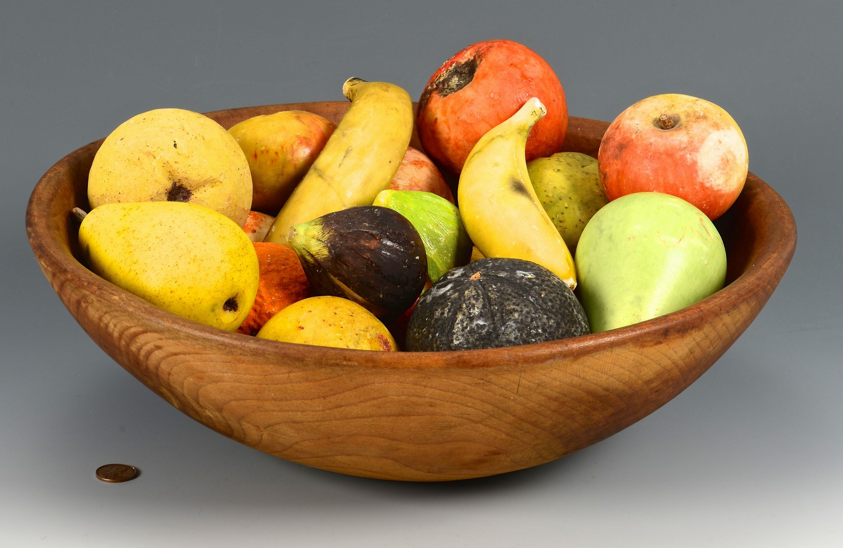 Lot 254: 20 pcs Stone Fruit w/ Wooden Bowl