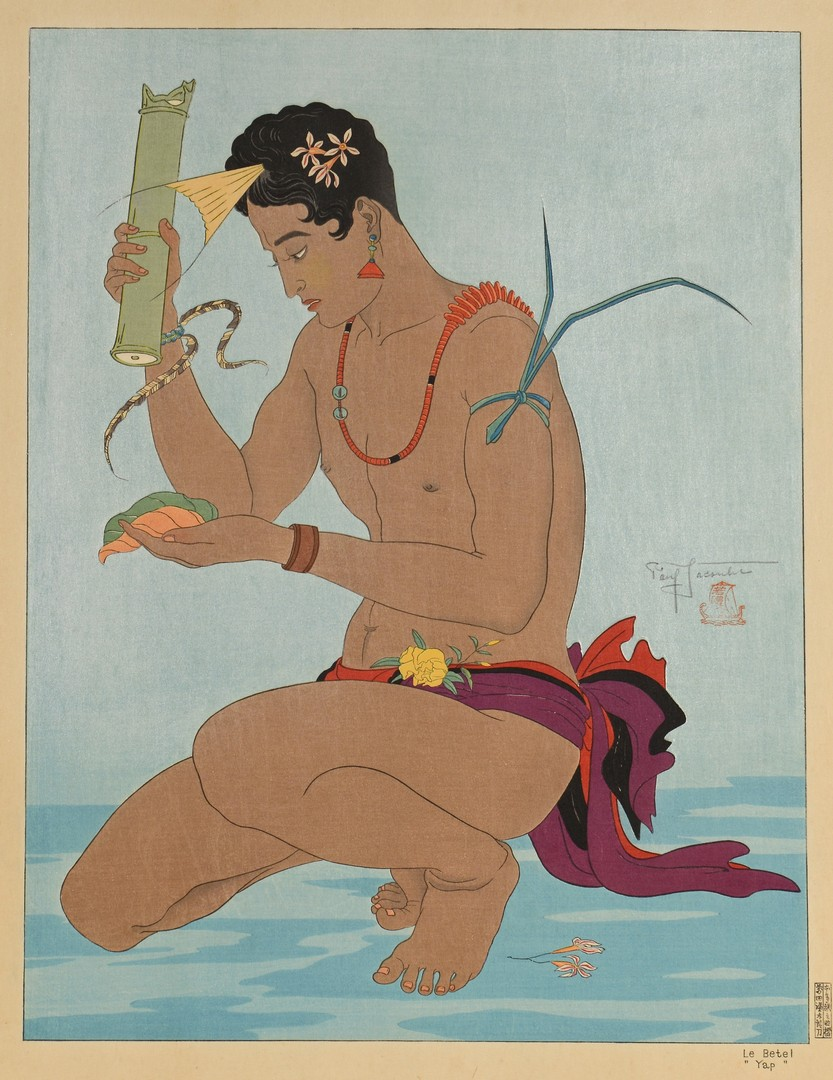 Lot 25: Paul Jacoulet Colored Woodblock, Le Betel Yap