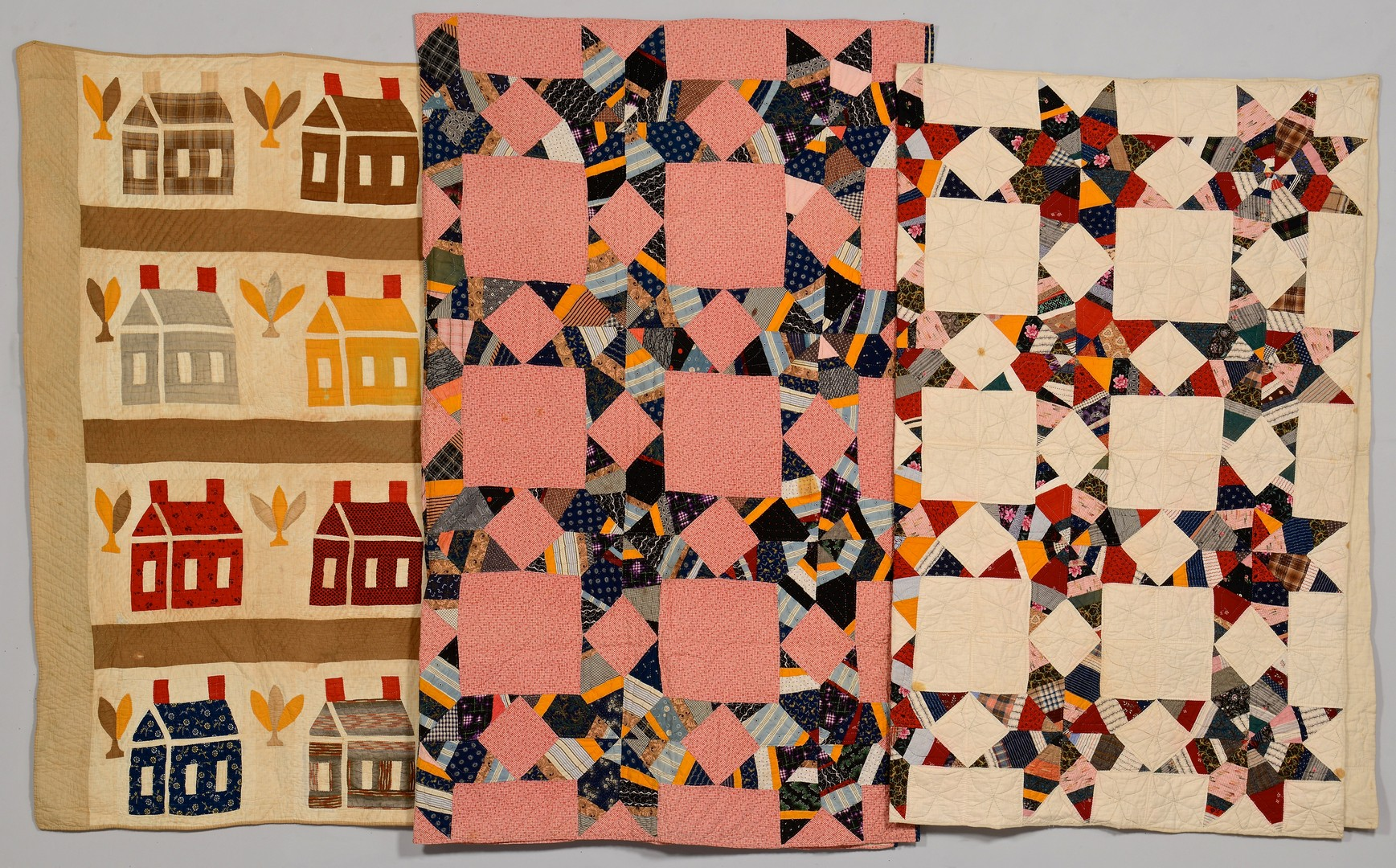 Lot 272: 3 Quilts, Schoolhouse and Star patterns