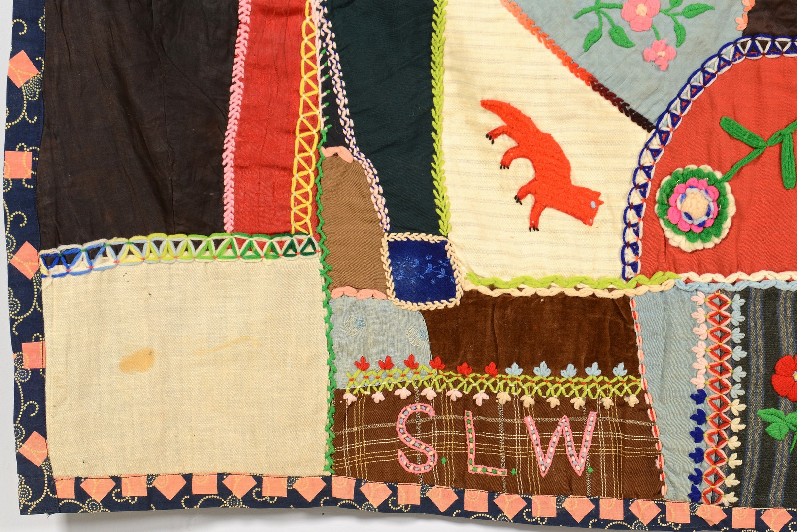 Lot 274: Signed Pictorial Crazy Quilt