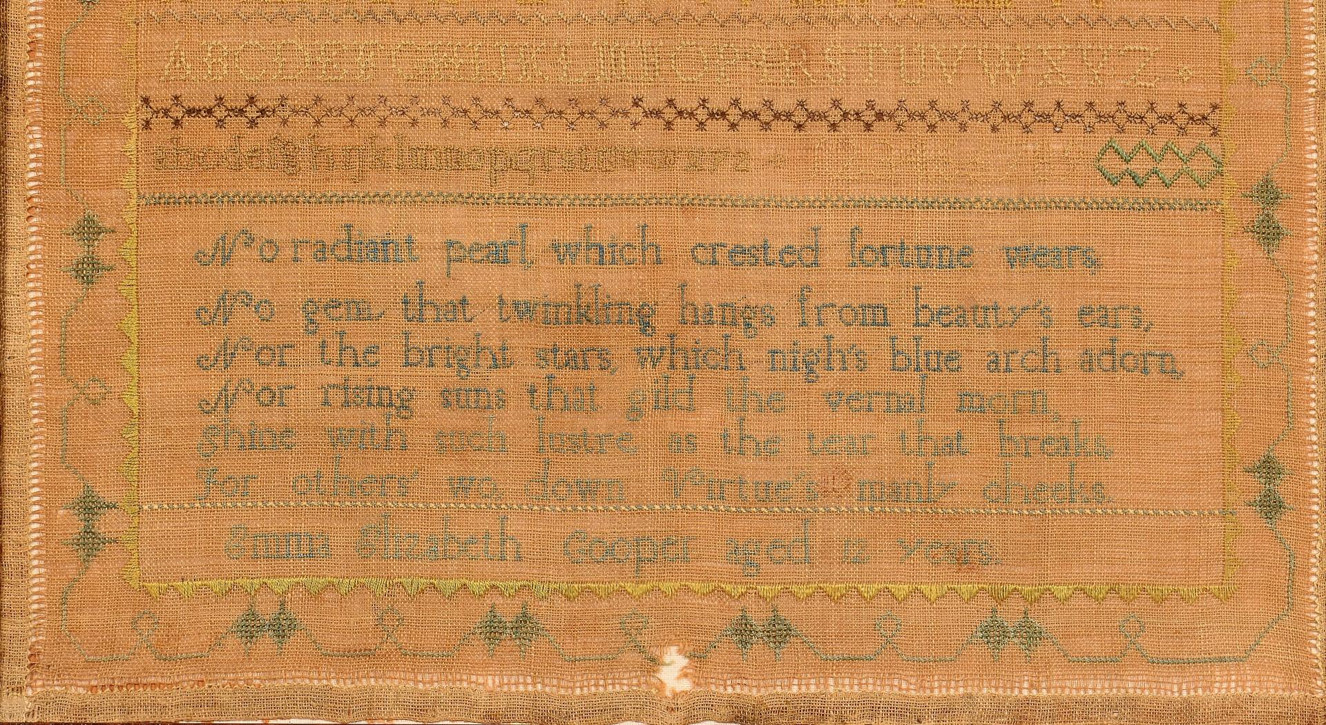 Lot 278: Sampler, likely Maine, Emma E. Cooper