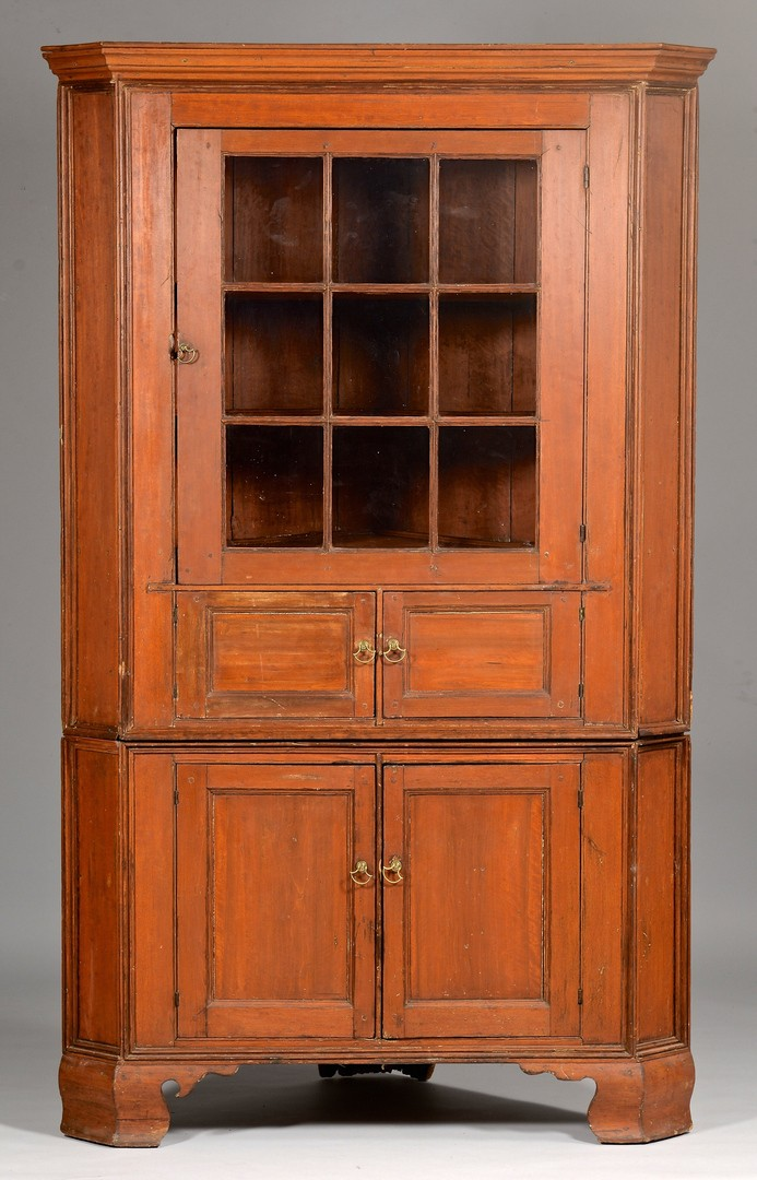 Lot 281: Red Painted Corner Cupboard, poss. Southern