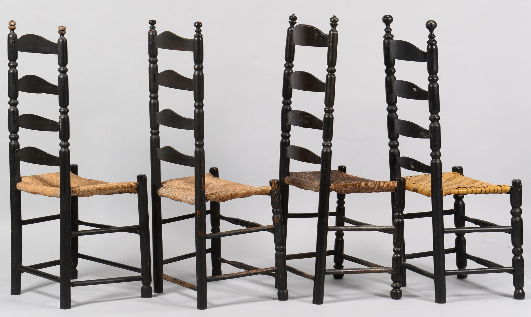 Lot 283: Group 5 Ladder Back Chairs, 19th c.