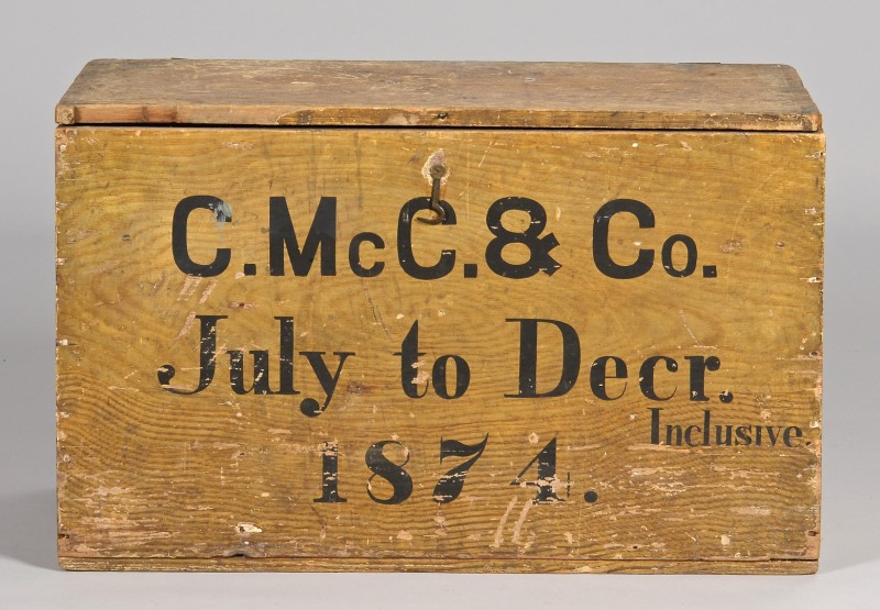 Lot 287: McClung Warehouse Grain Painted Box, 1874