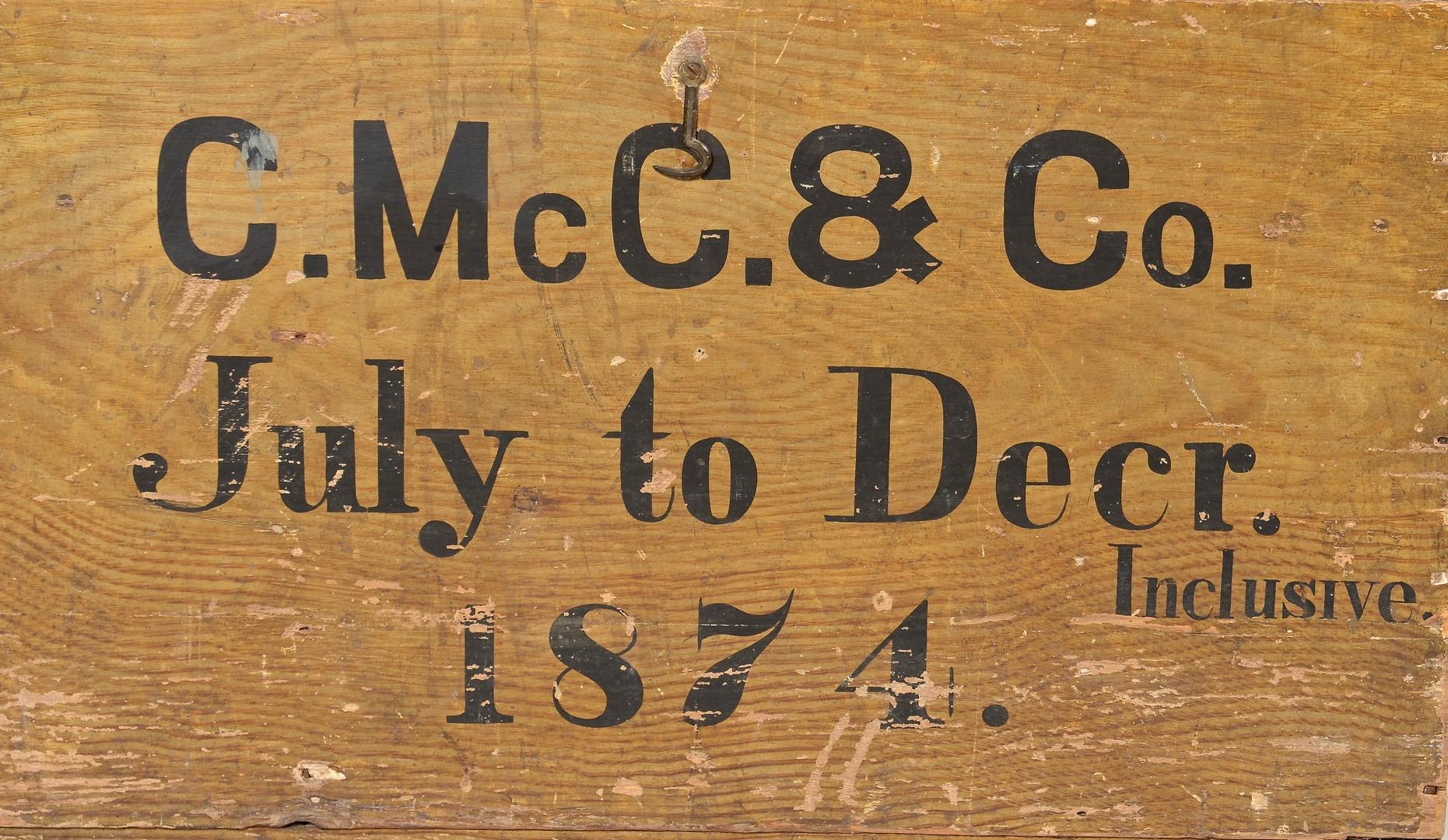 Lot 287: McClung Warehouse Grain Painted Box, 1874