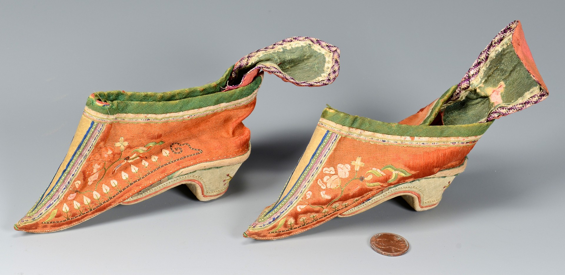 Lot 28: Chinese Mandarin Robe & Pants w/ Binding Shoes