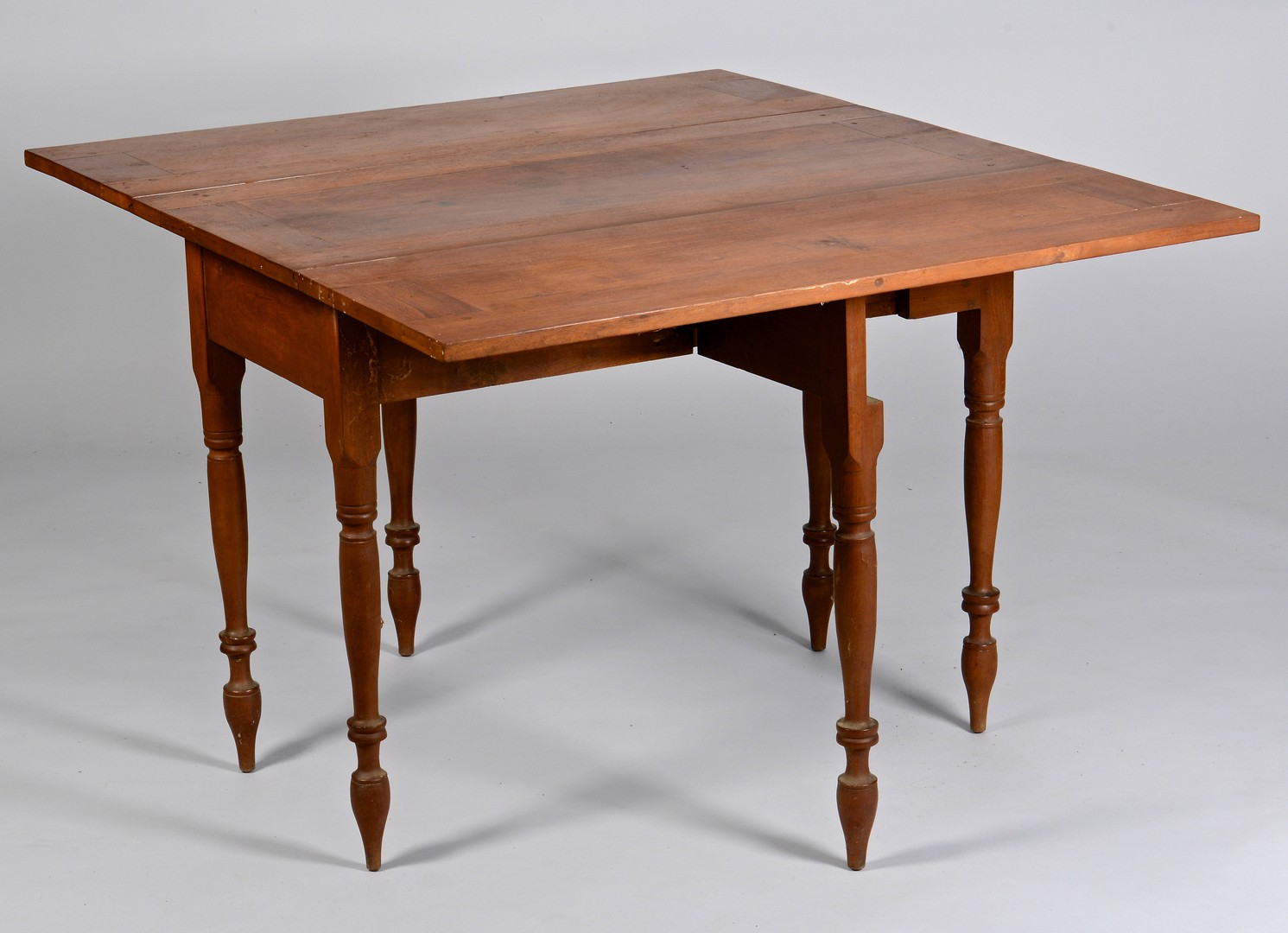 Lot 291: East TN Walnut Fall Leaf Table, Paneled Leaves