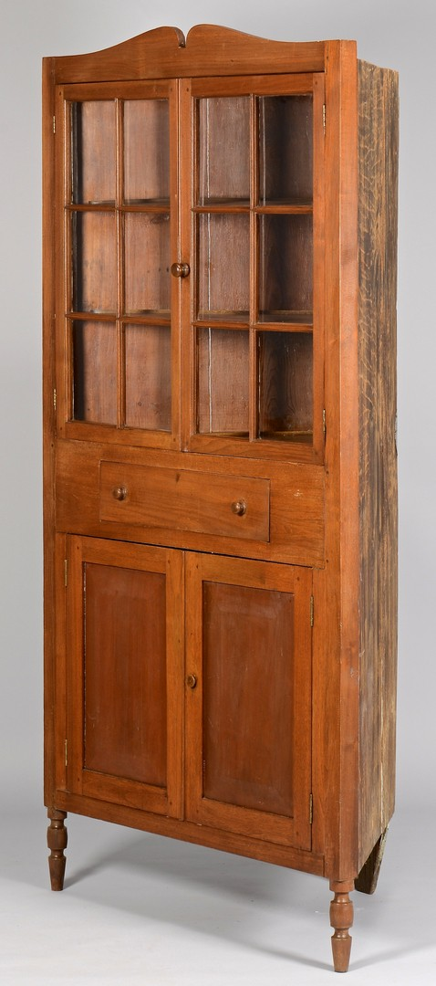 Lot 296: Greene Co. TN Walnut 12 Pane Corner Cupboard