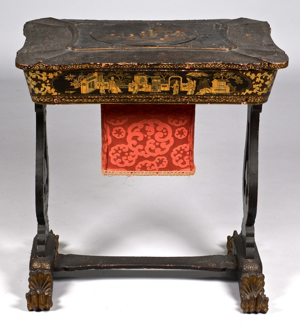 Lot 29: Chinese Lacquer Sewing Table w/ Gilt Decoration w/