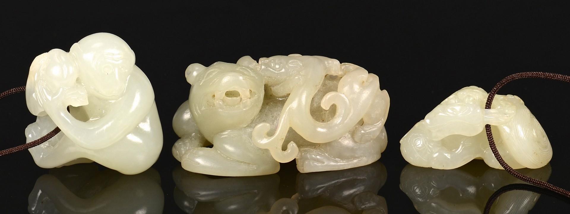 Lot 2: 3 Chinese Jade Animal Carvings