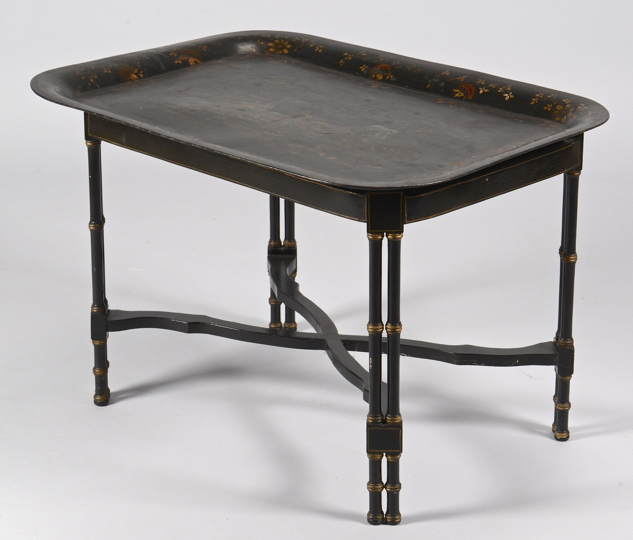 Lot 310: Victorian Toile Tray on Lacquer Stand