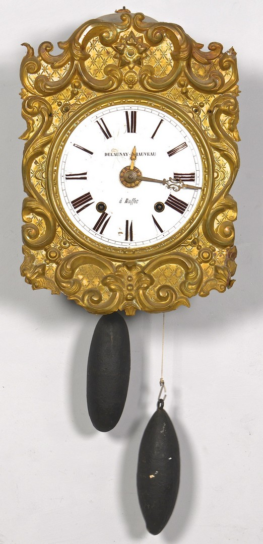 Lot 311: Delaunay French Gilt Metal Morbier Clock