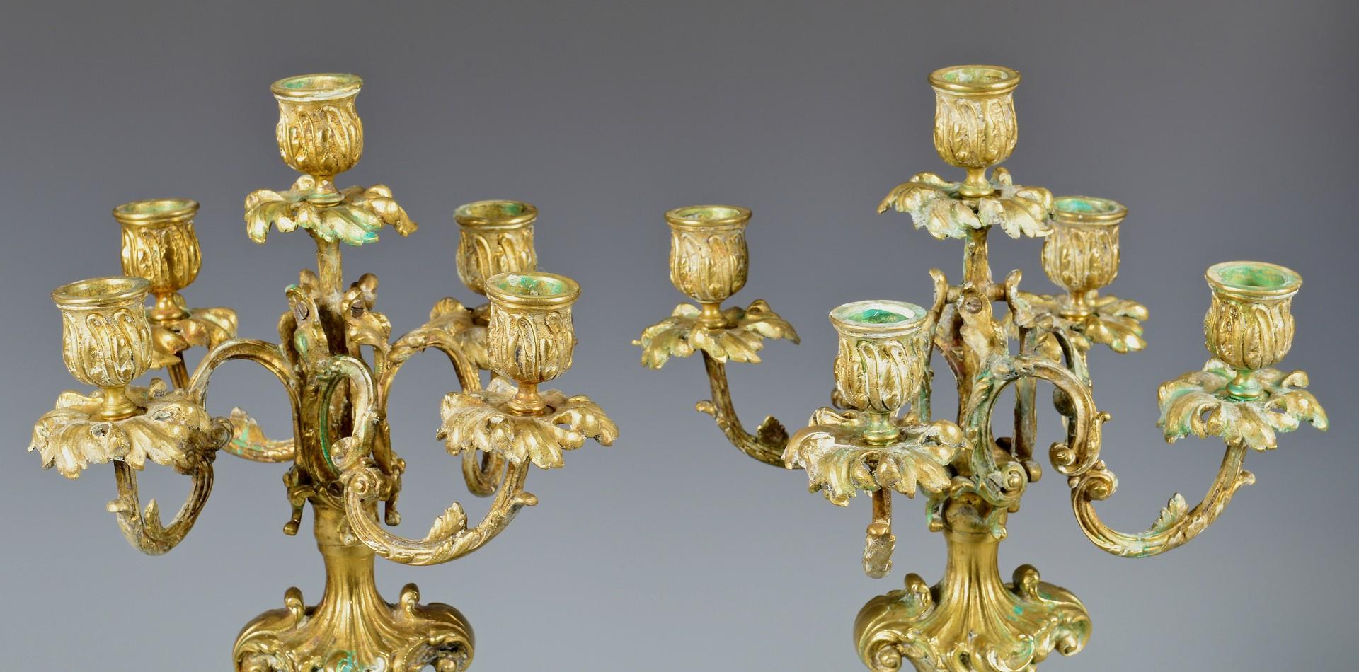 Brass Candlesticks lot 317: bronze candelabra & brass candlesticks