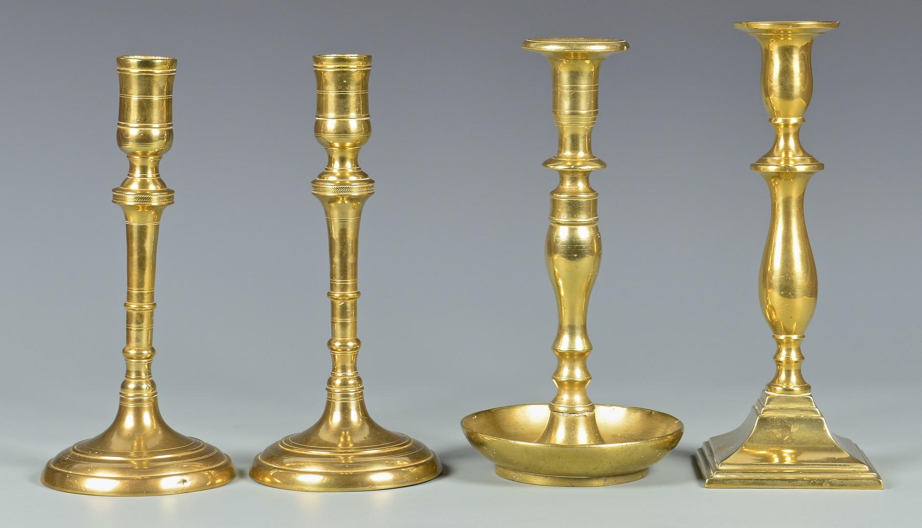 Lot 317: Bronze Candelabra & Brass Candlesticks