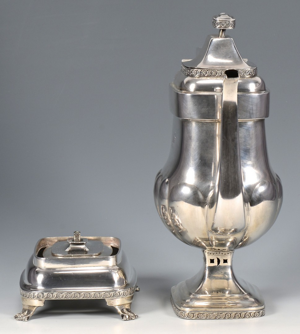 Lot 319: NY Coin Silver Coffee Pot w/ Warming Stand