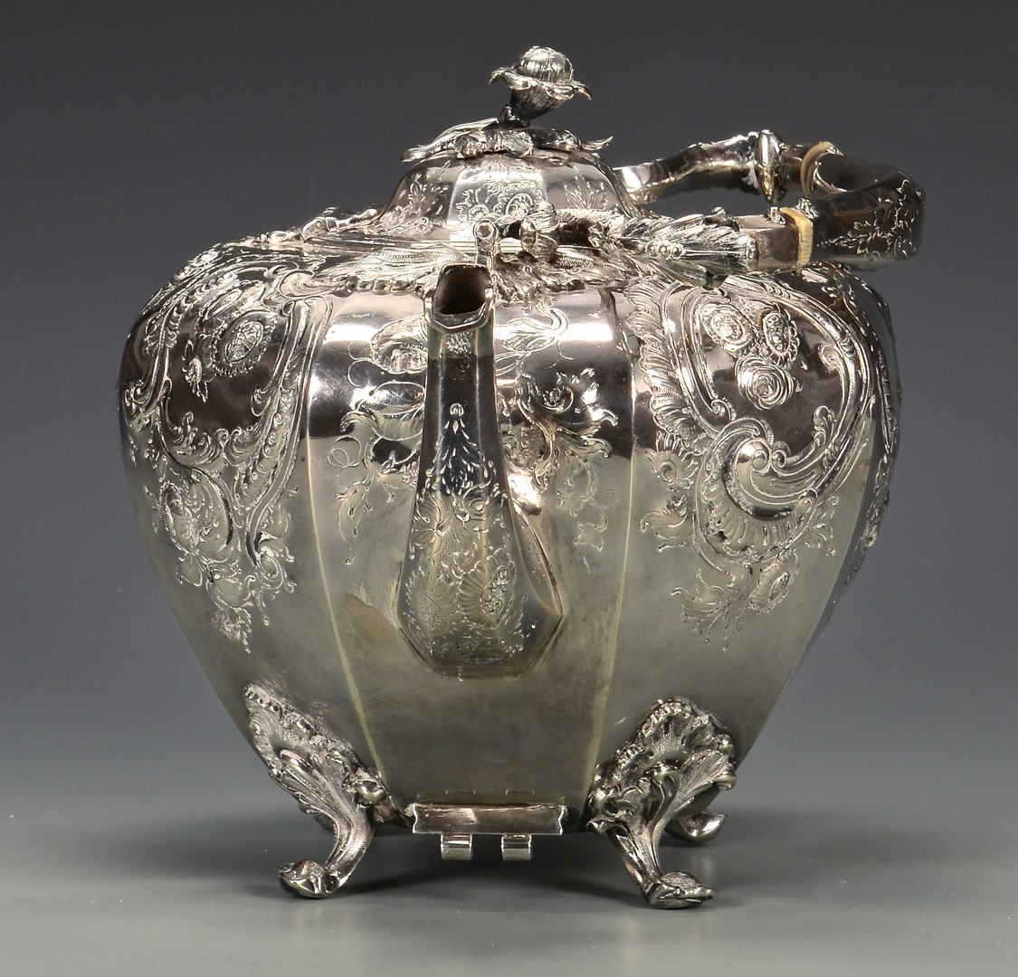 Lot 320: Coin Silver Tea Kettle with stand and burner