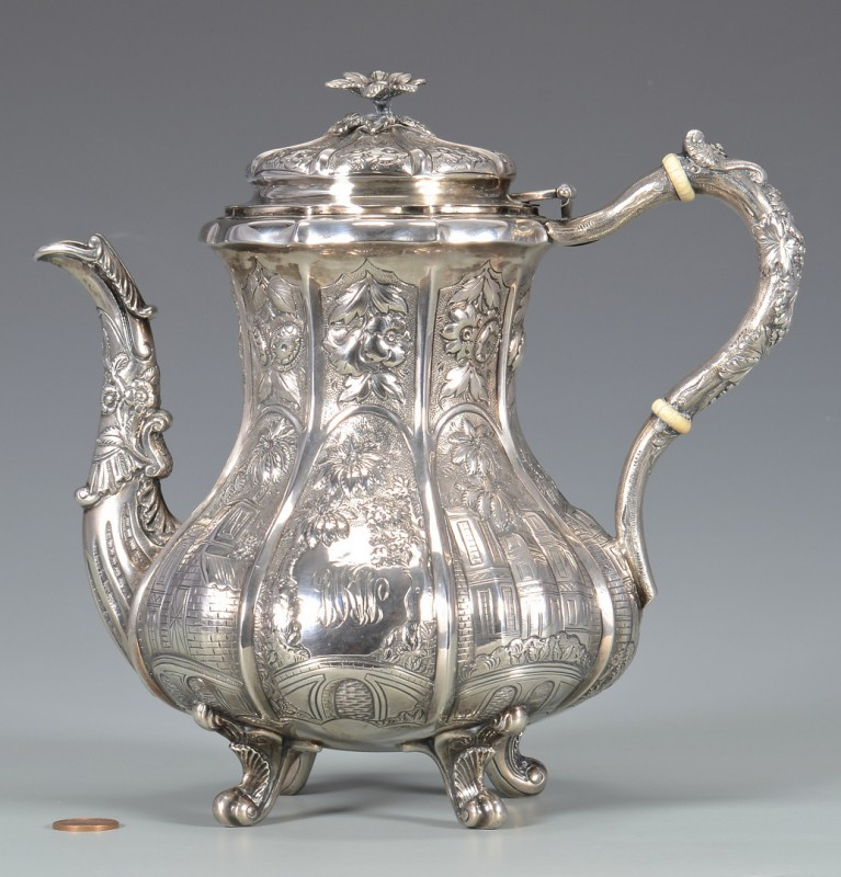 Lot 321: Coin Silver Teapot, architectural decoration