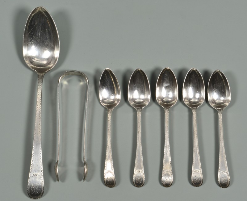 Lot 326: Joseph Richardson, 7 pcs. Federal Silver