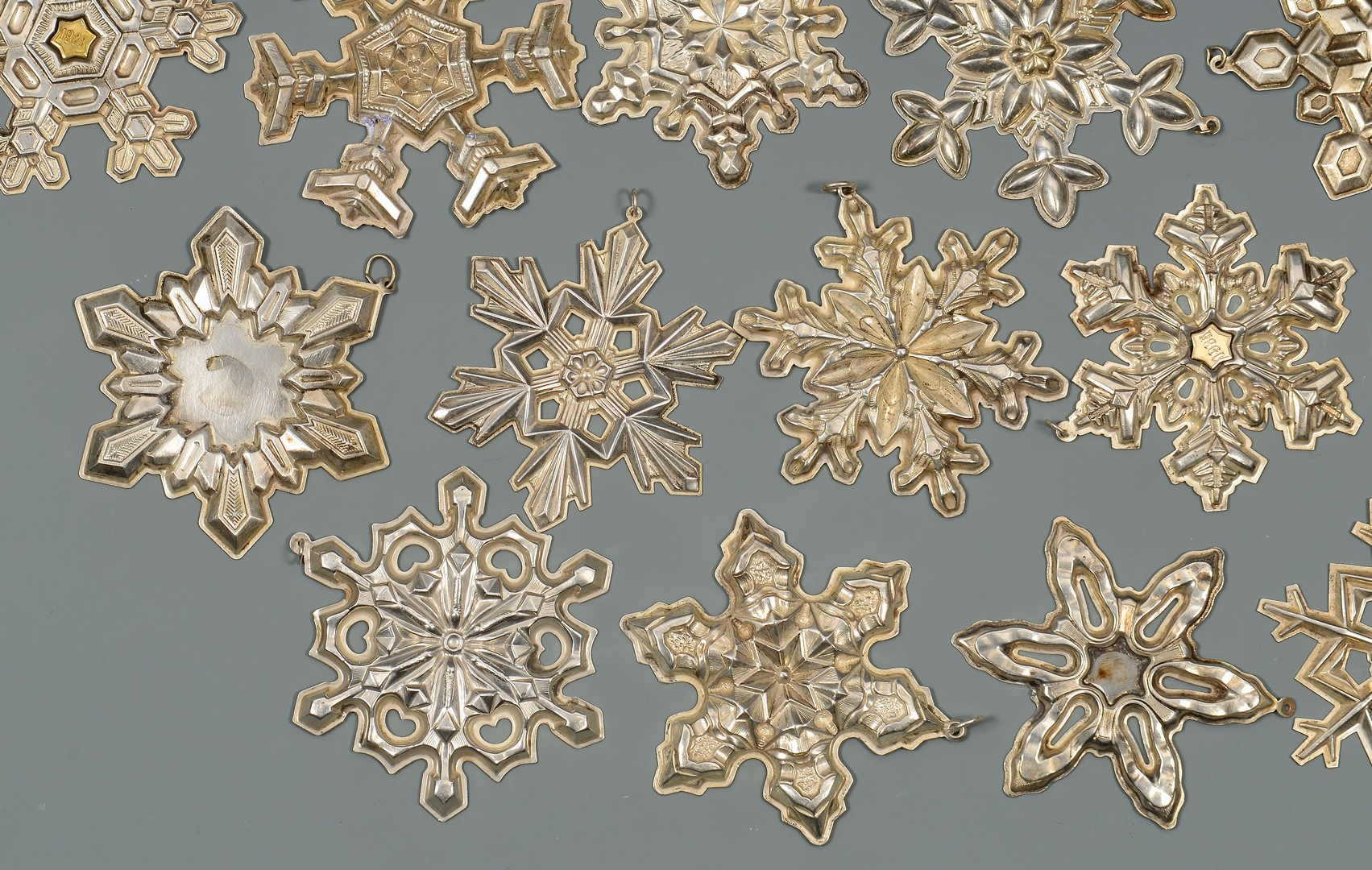 Lot 330: 34 Gorham Sterling Silver Snowflakes