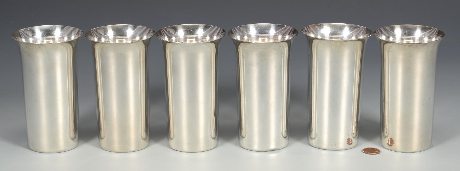 Lot 334: 6 Silver Beakers