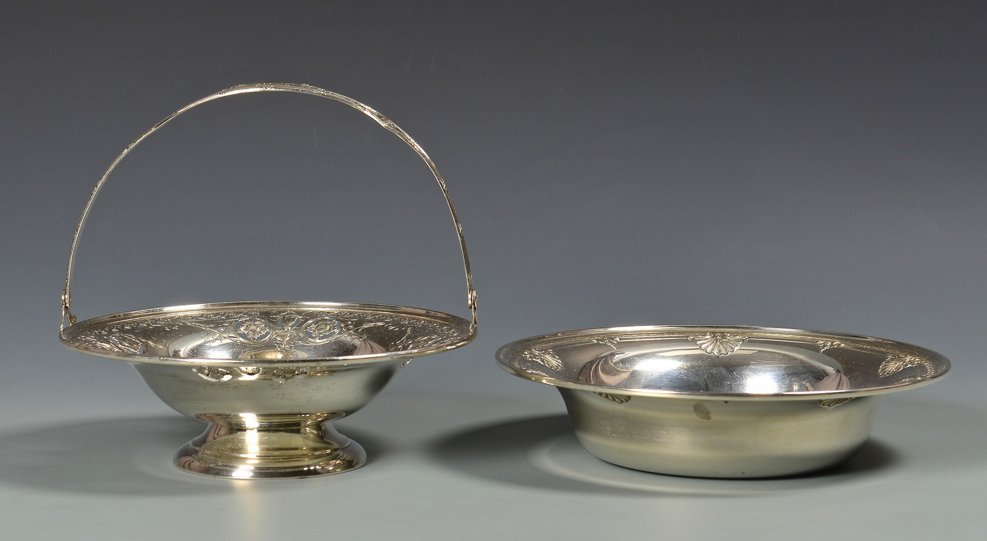 Lot 340: Sterling Silver Basket, Bowls and Tray
