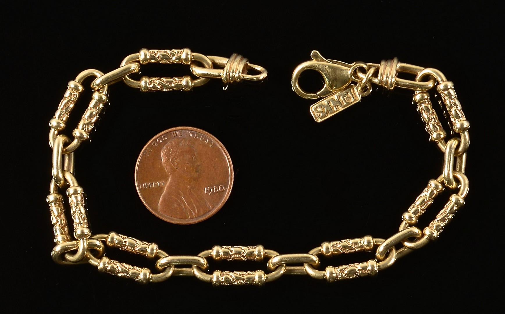 """Lot 344: 14K Gold Link Bracelet, 8"""" L"""