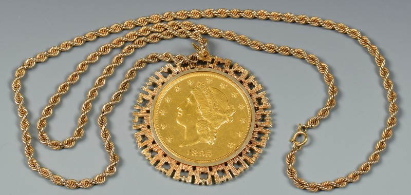 Lot 348: 1895 $20 Coin Pendant Necklace