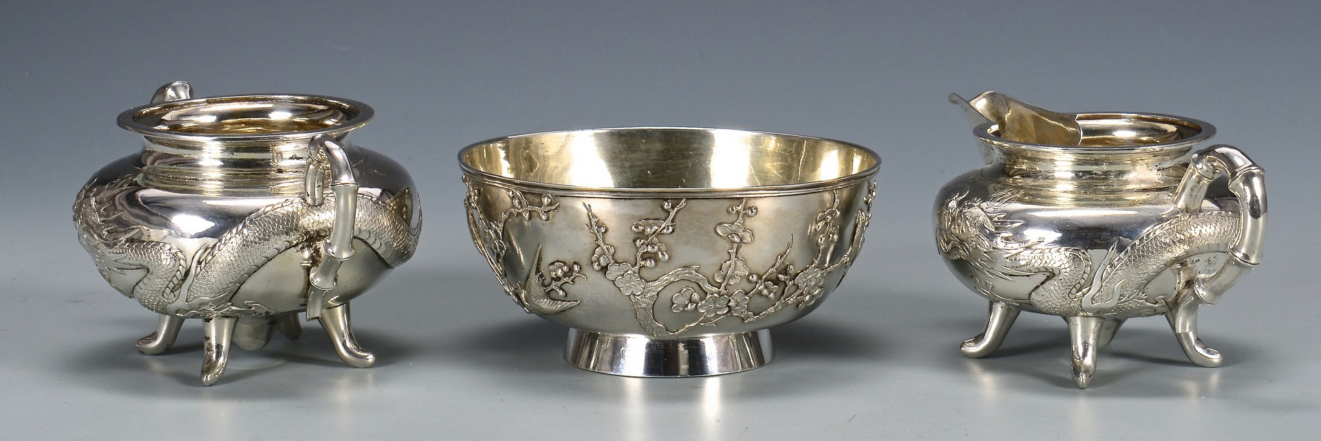 Lot 34: Chinese Export Silver Tea Service and Tray