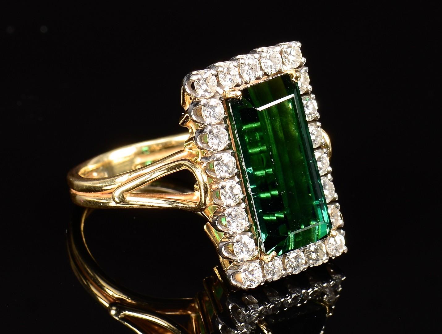 Lot 350: 14k Green Tourmaline Diamond Ring