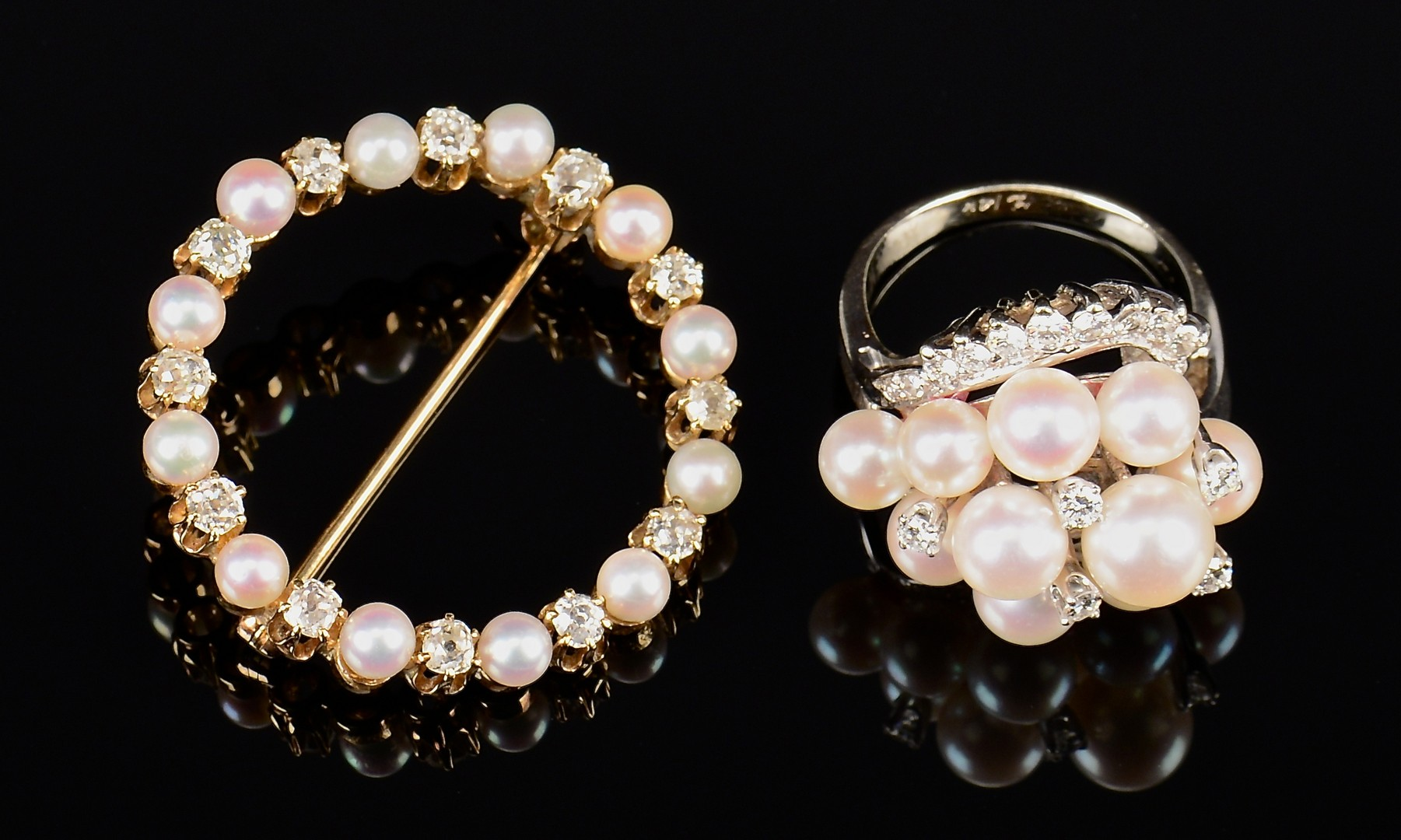 Lot 351: 2 14k Diamond & Pearl Jewelry Items