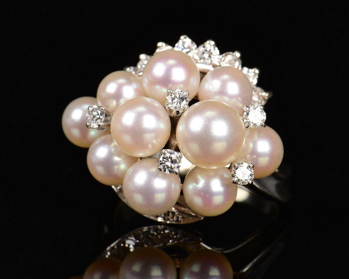 Lot 351: 2 14k Diamond & Pearl Jewelry Items