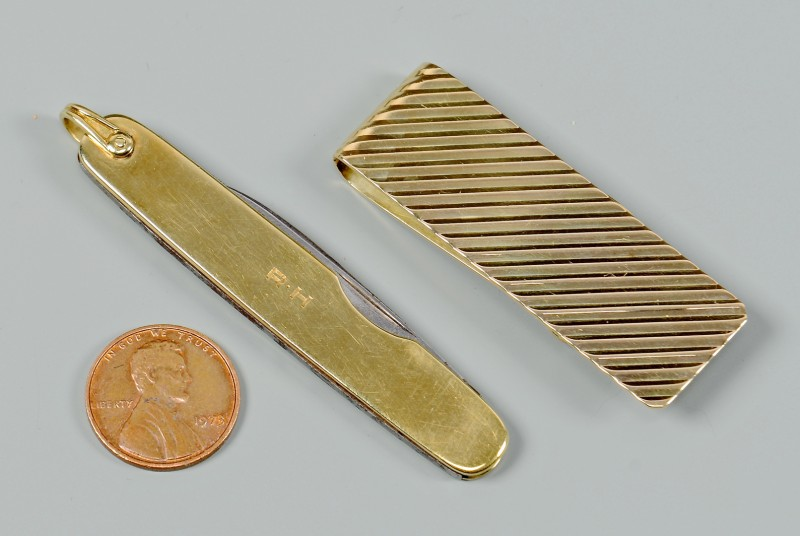 Lot 352: Tiffany & Co. 14K Money Clip & Pocket Knife