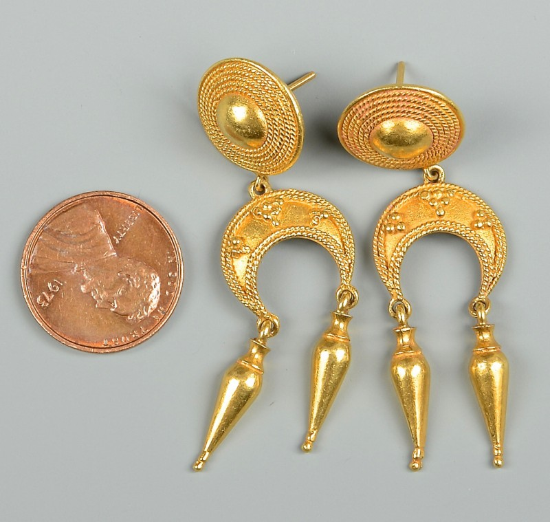 Lot 353: Pair of 22k Byzantine Gold Earrings