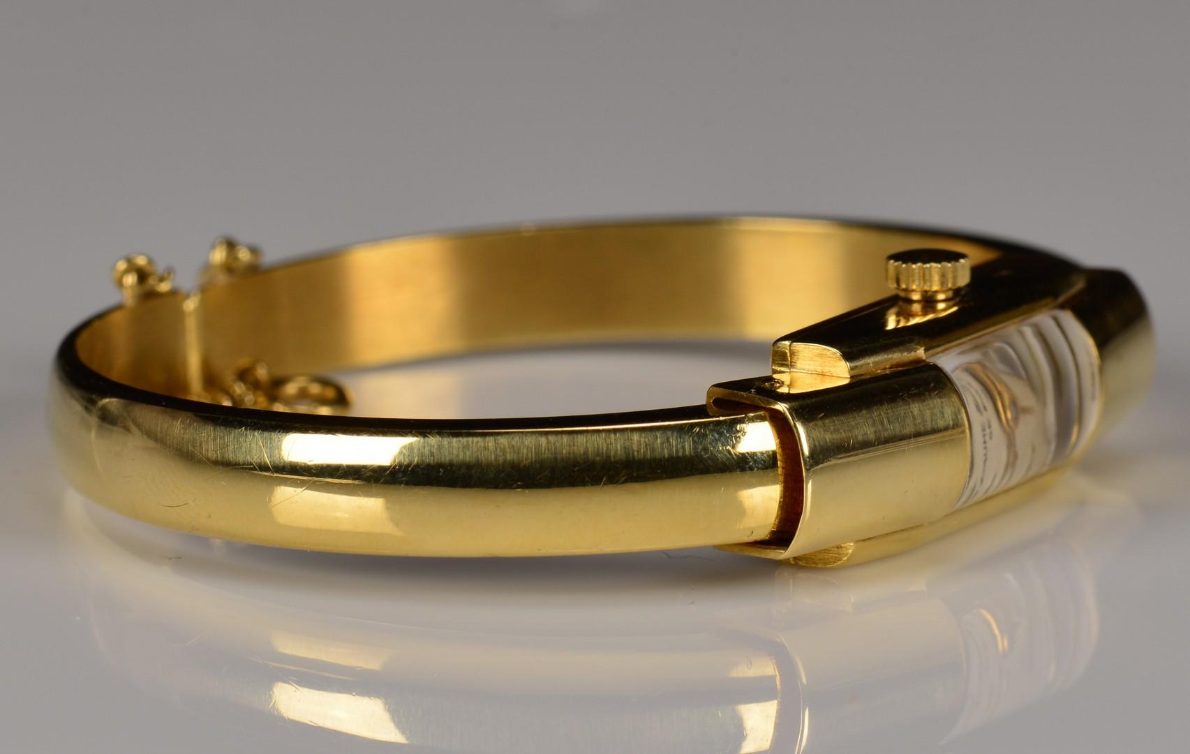 Lot 356: 18K Baum Mercier Cuff Bracelet Watch