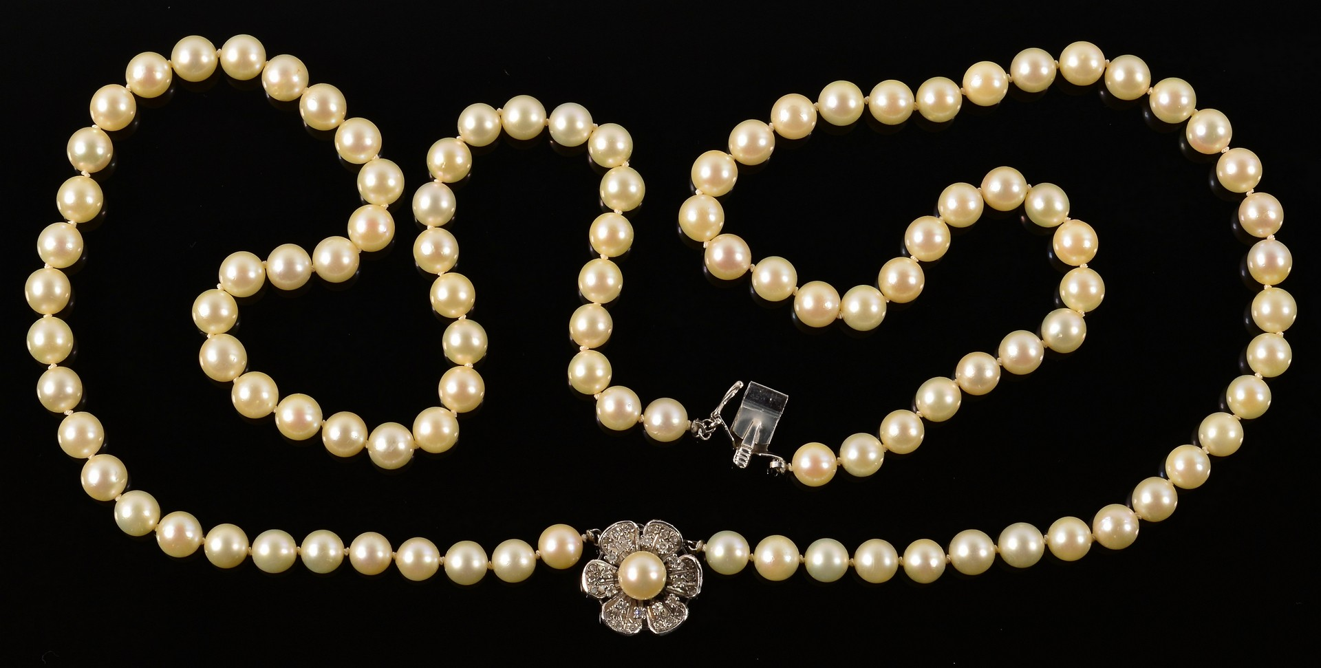 Lot 357: Double Strand Pearl Necklace w/ Dia.& 14K Clasp