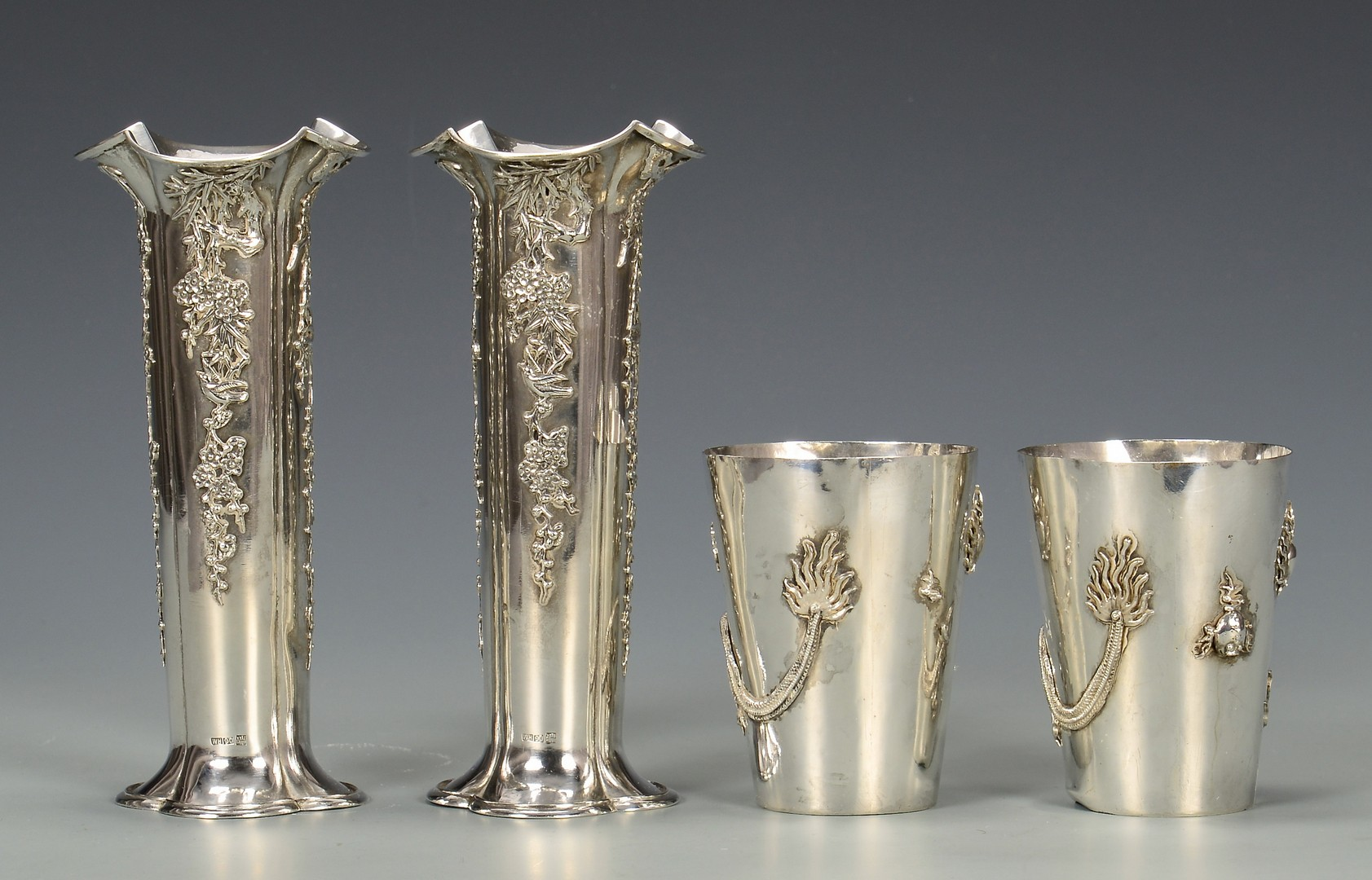Lot 35: Chinese Export Silver Vases, Cups