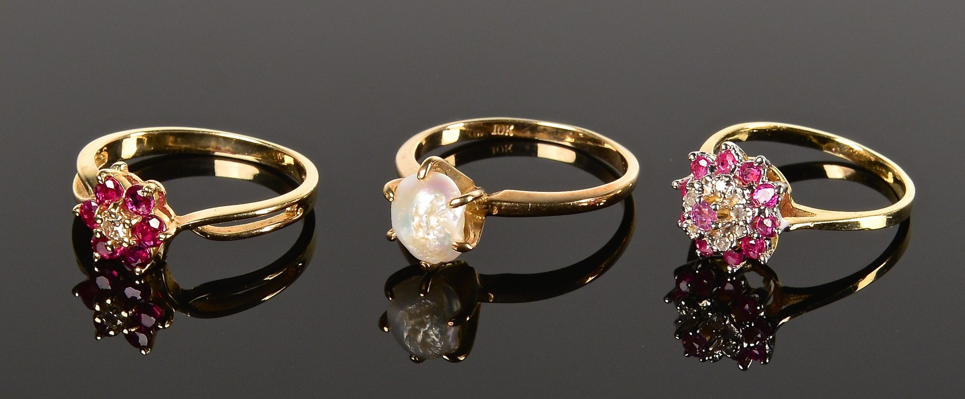 Lot 360: Group of gold jewelry incl dia studs