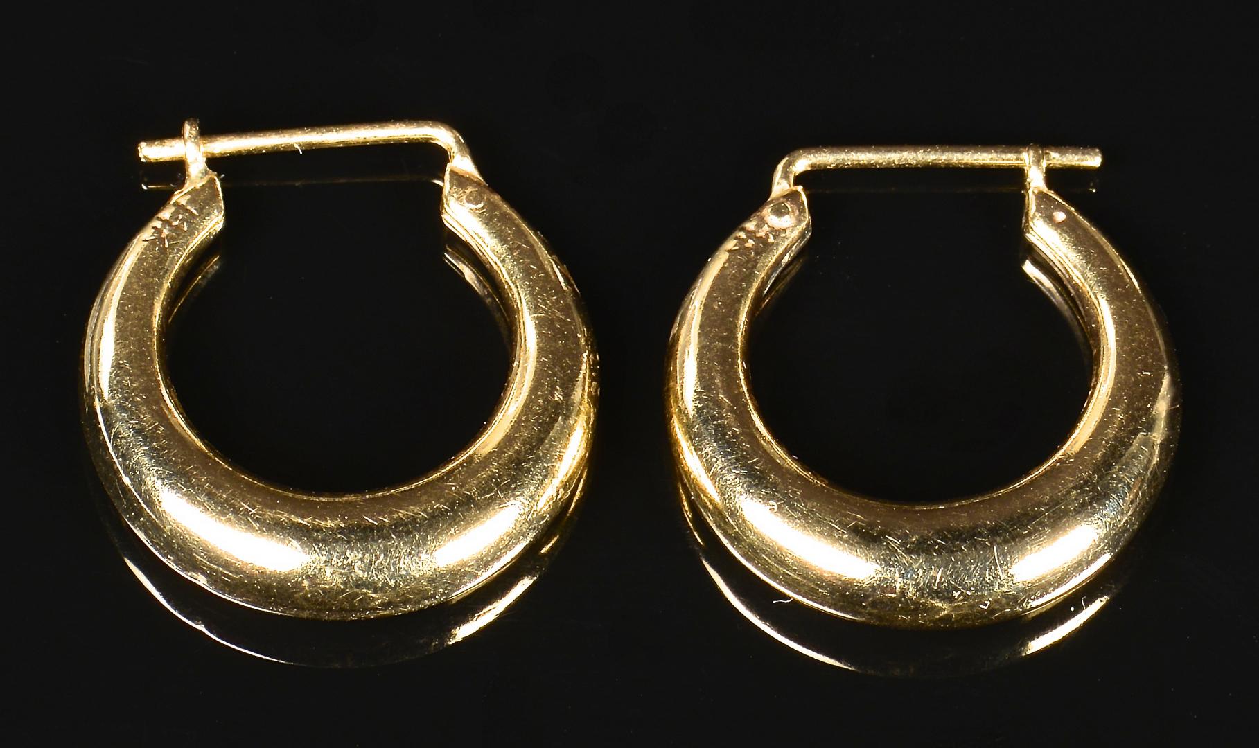 Lot 364 14k Necklace Amp 2 Pair Hoop Earrings