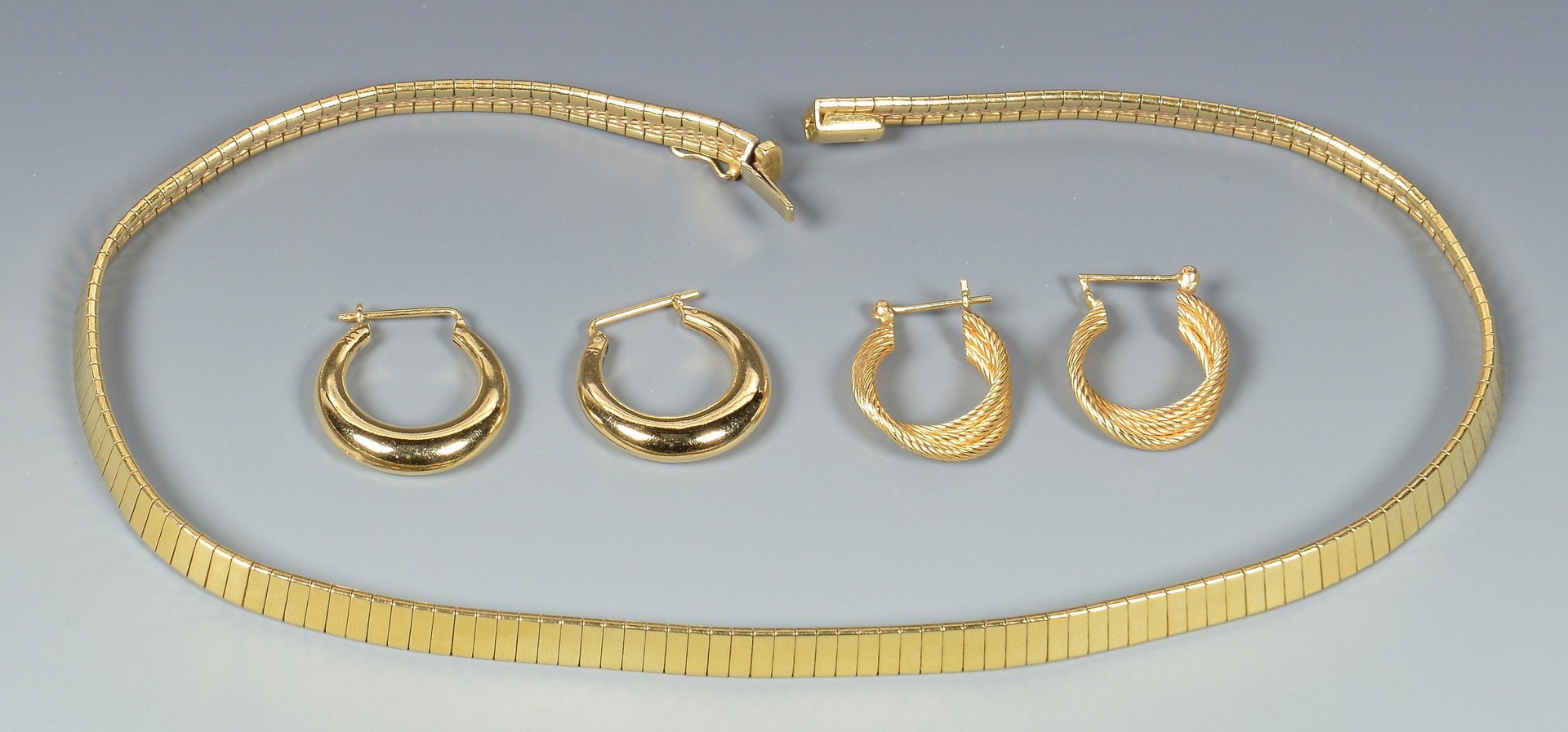 Lot 364: 14K Necklace & 2 Pair Hoop Earrings